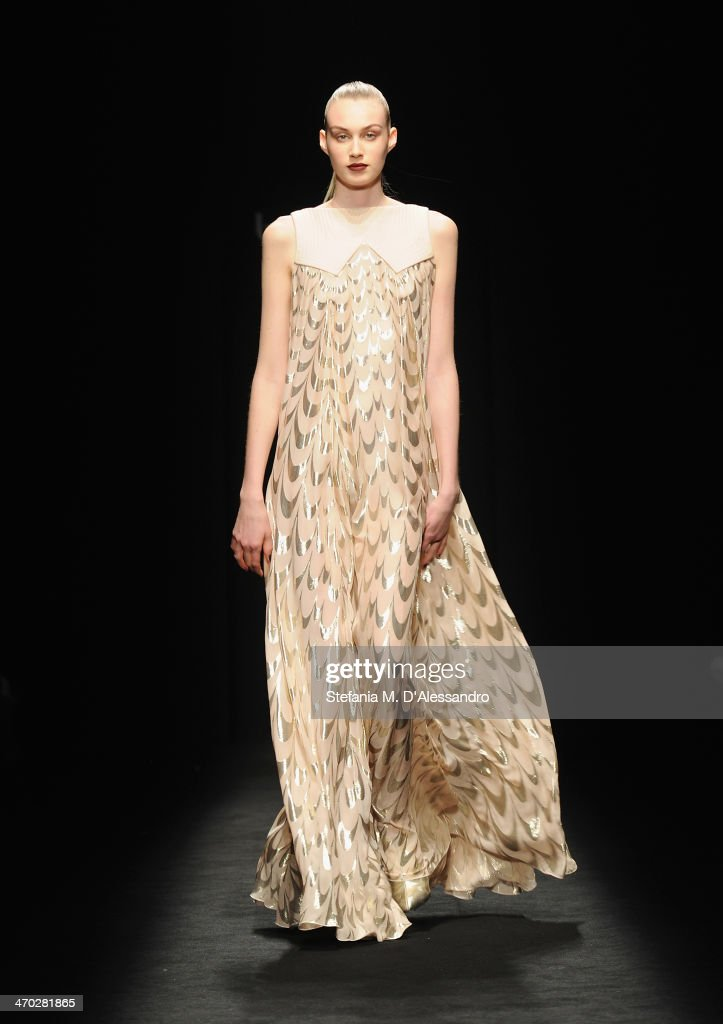 A model walks the runway at the Byblos show during Milan Fashion Week Womenswear Autumn/Winter 2014 on February 19, 2014 in Milan, Italy.