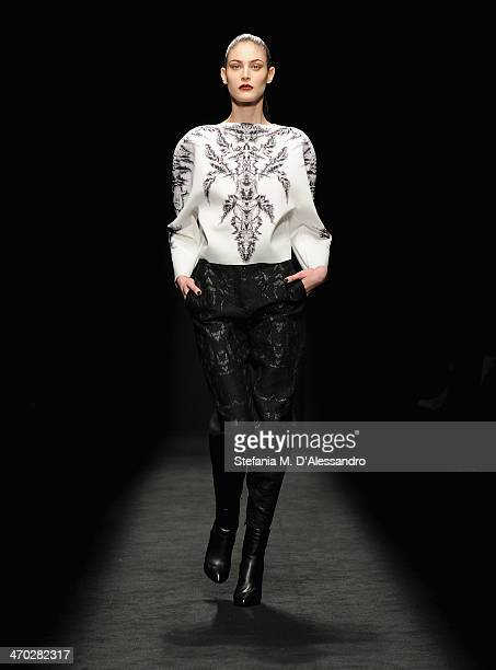 A model walks the runway at the Byblos show during Milan Fashion Week Womenswear Autumn/Winter 2014 on February 19 2014 in Milan Italy