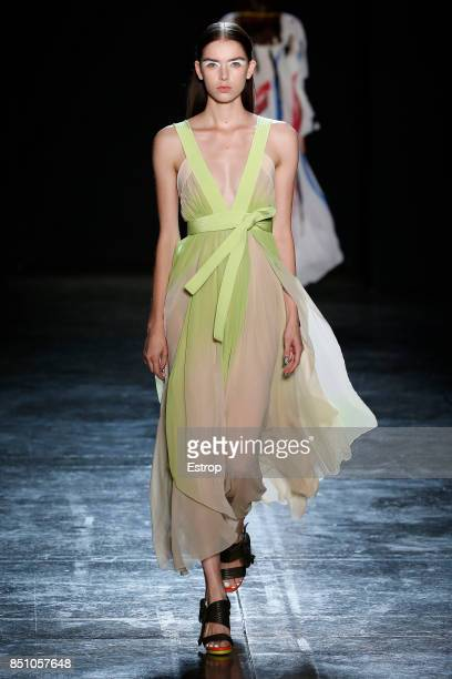 A model walks the runway at the Byblos show during Milan Fashion Week Spring/Summer 2018 on September 20 2017 in Milan Italy