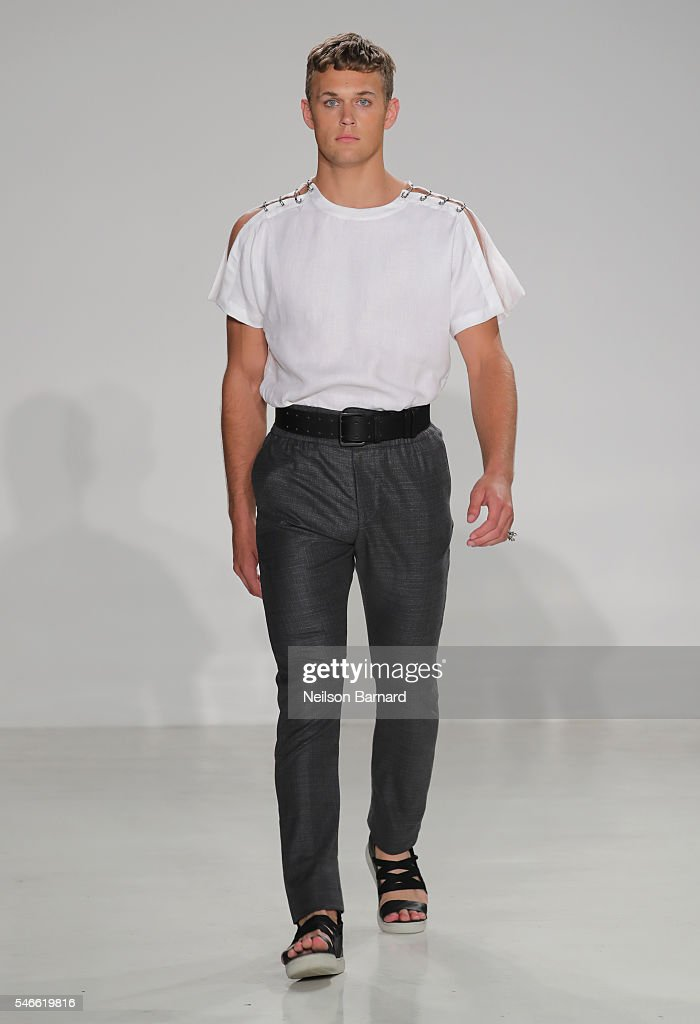 A model walks the runway at the Cadet New York Fashion Week Men's S/S 2017 at Skylight Clarkson Sq on July 12 2016 in New York City