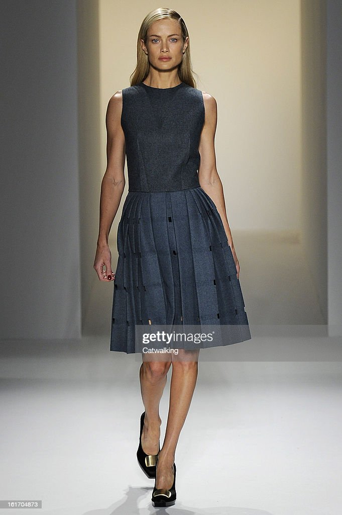 A model walks the runway at the Calvin Klein Autumn Winter 2013 fashion show during New York Fashion Week on February 14, 2013 in New York, United States.
