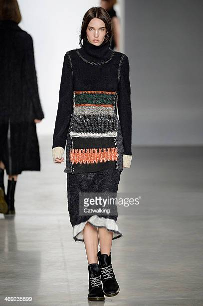 A model walks the runway at the Calvin Klein Autumn Winter 2014 fashion show during New York Fashion Week on February 13 2014 in New York United...