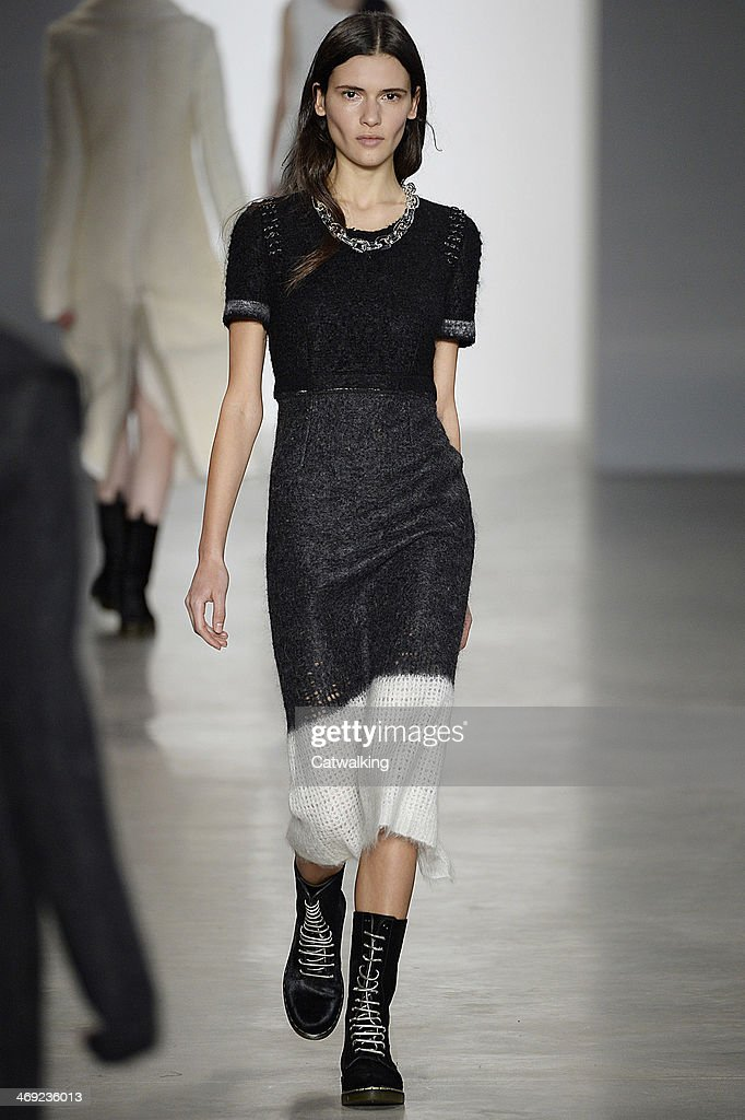 A model walks the runway at the Calvin Klein Autumn Winter 2014 fashion show during New York Fashion Week on February 13, 2014 in New York, United States.