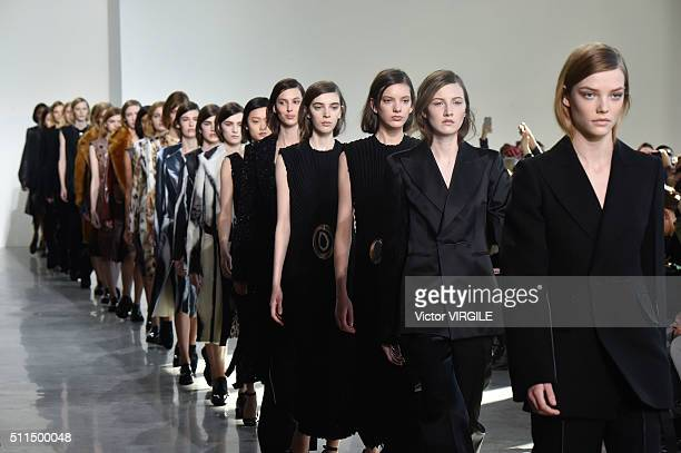 A model walks the runway at the Calvin Klein Collection FallWinter 2016 fashion show during New York Fashion Week on February 18 2016 in New York City