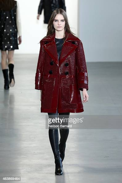 A model walks the runway at the Calvin Klein Collection fashion show during MercedesBenz Fashion Week Fall 2015 at Spring Studios on February 19 2015...