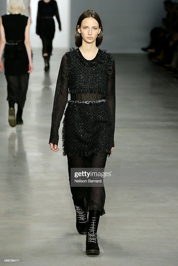 A model walks the runway at the Calvin Klein Collection fashion show during Mercedes-Benz Fashion Week Fall 2014 on February 13, 2014 in New York City.