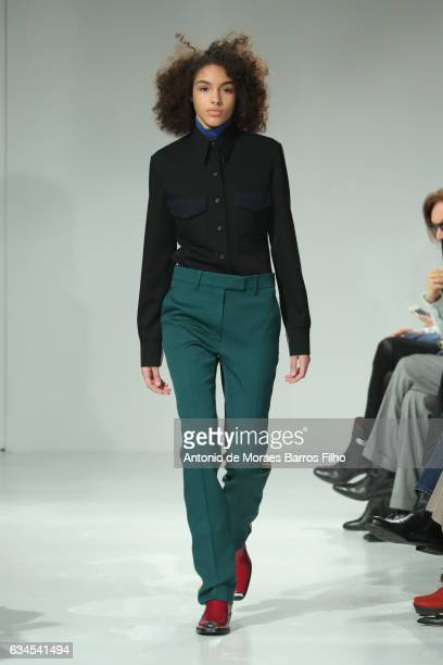 A model walks the runway at the Calvin Klein Collection show during New York Fashion Week on February 10 2017 in New York City