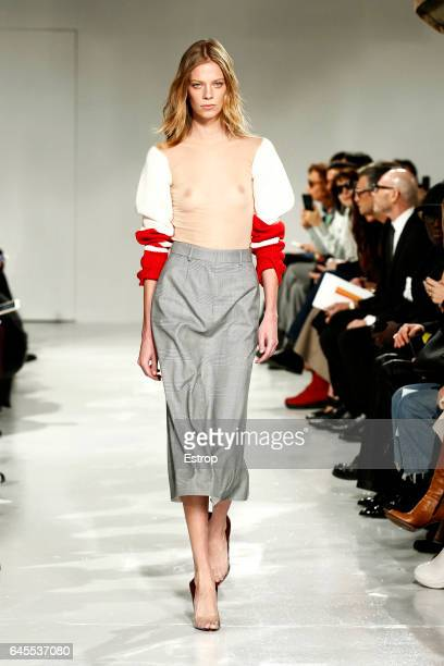 A model walks the runway at the Calvin Klein show during the New York Fashion Week February 2017 collections on February 10 2017 in New York City
