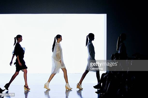 A model walks the runway at the Calvin Klein Spring 2007 Fashion show during Olympus Fashion Week September 14 2006 in New York City