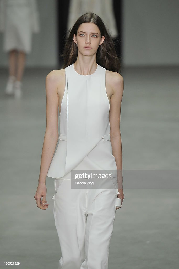A model walks the runway at the Calvin Klein Spring Summer 2014 fashion show during New York Fashion Week on September 12, 2013 in New York, United States.
