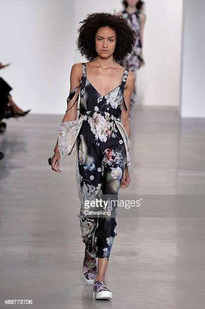 A model walks the runway at the Calvin Klein Spring Summer 2016 fashion show during New York Fashion Week on September 17 2015 in New York United...