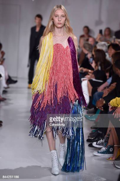 A model walks the runway at the Calvin Klein Spring Summer 2018 fashion show during New York Fashion Week on September 7 2017 in New York United...