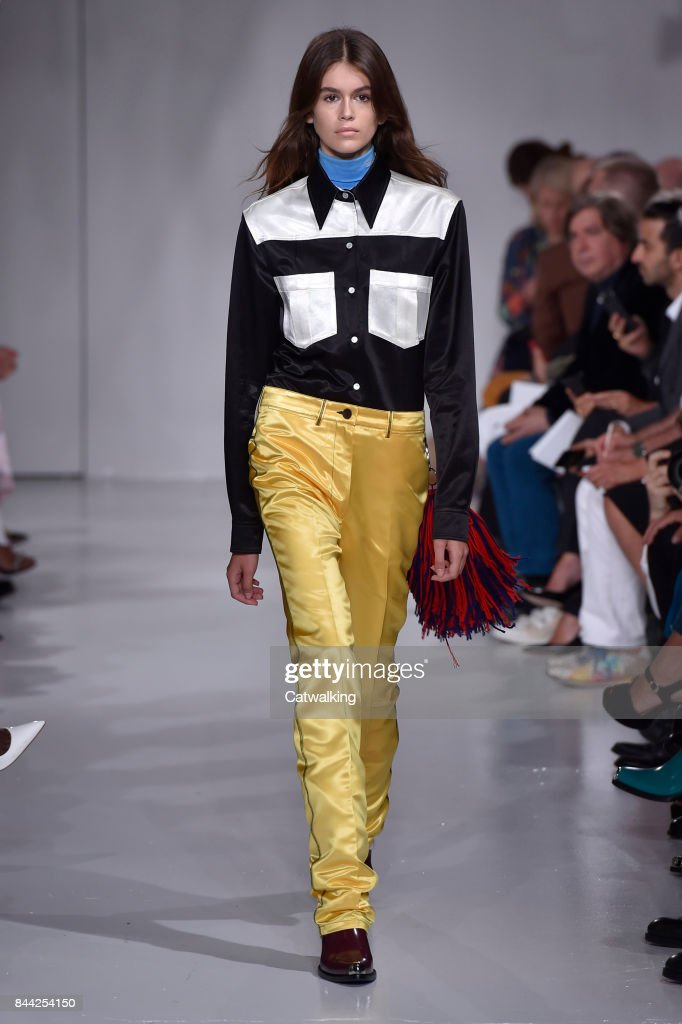 A model walks the runway at the Calvin Klein Spring Summer 2018 fashion show during New York Fashion Week on September 7, 2017 in New York, United States.