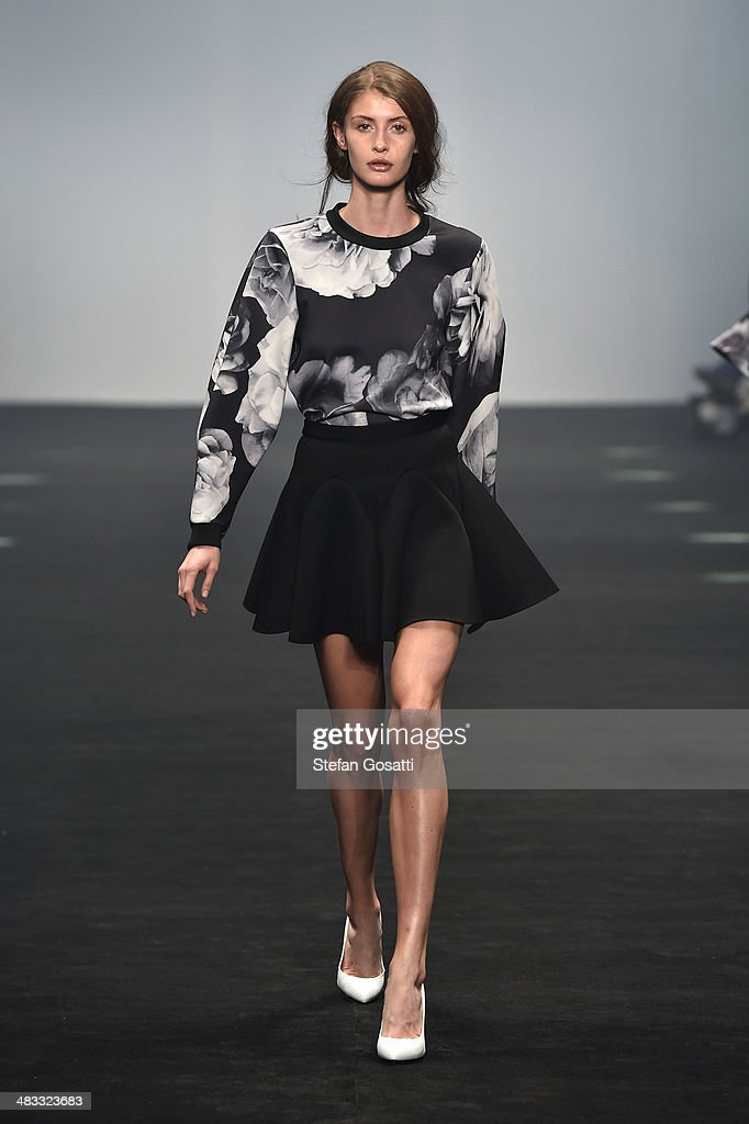 A model walks the runway at the Cameo show during Mercedes-Benz Fashion Week Australia 2014 at Carriageworks on April 8, 2014 in Sydney, Australia.