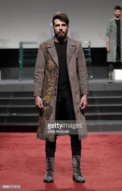 A model walks the runway at the Can YCetinkaya show during MercedesBenz Istanbul Fashion Week March 2017 at Grand Pera on March 22 2017 in Istanbul...