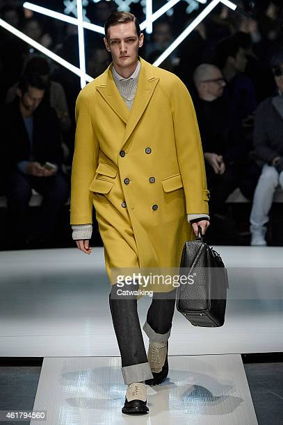 A model walks the runway at the Canali Autumn Winter 2015 fashion show during Milan Menswear Fashion Week on January 19 2015 in Milan Italy