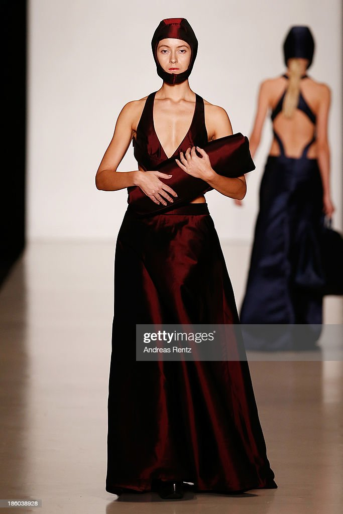 A model walks the runway at the Carmen Emanuela Popa show during Mercedes-Benz Fashion Week Russia S/S 2014on October 27, 2013 in Moscow, Russia.