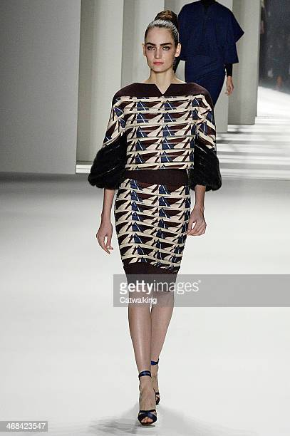 A model walks the runway at the Carolina Herrera Autumn Winter 2014 fashion show during New York Fashion Week on February 10 2014 in New York United...