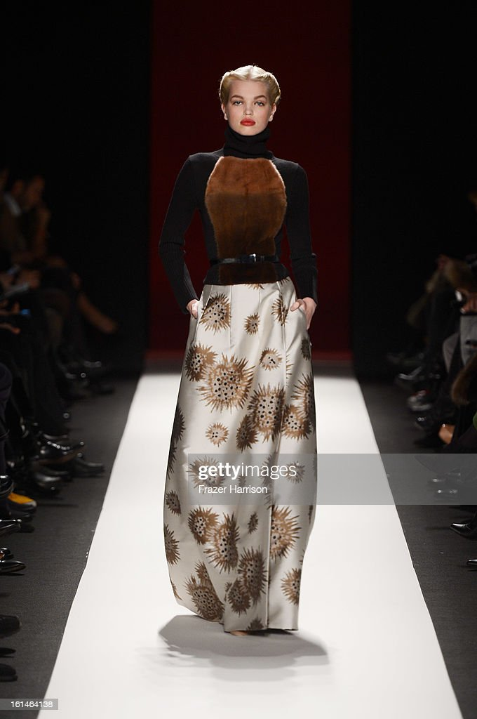 A model walks the runway at the Carolina Herrera Fall 2013 fashion show during Mercedes-Benz Fashion Week at The Theatre at Lincoln Center on February 11, 2013 in New York City.
