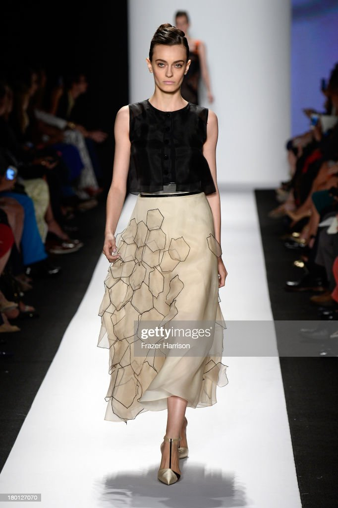 A model walks the runway at the Carolina Herrera fashion show during Mercedes-Benz Fashion Week Spring 2014 at The Theatre at Lincoln Center on September 9, 2013 in New York City.
