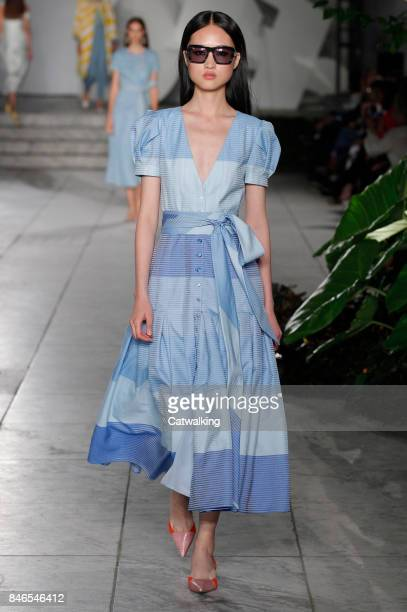 A model walks the runway at the Carolina Herrera Spring Summer 2018 fashion show during New York Fashion Week on September 11 2017 in New York United...