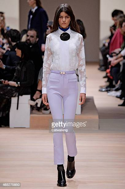 A model walks the runway at the Carven Autumn Winter 2015 fashion show during Paris Fashion Week on March 5 2015 in Paris France