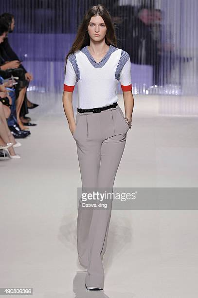 A model walks the runway at the Carven Spring Summer 2016 fashion show during Paris Fashion Week on October 1 2015 in Paris France
