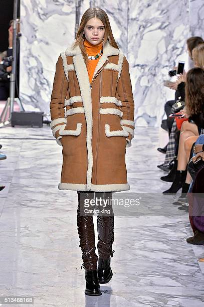A model walks the runway at the Carven Winter 2016 fashion show during Paris Fashion Week on March 3 2016 in Paris France