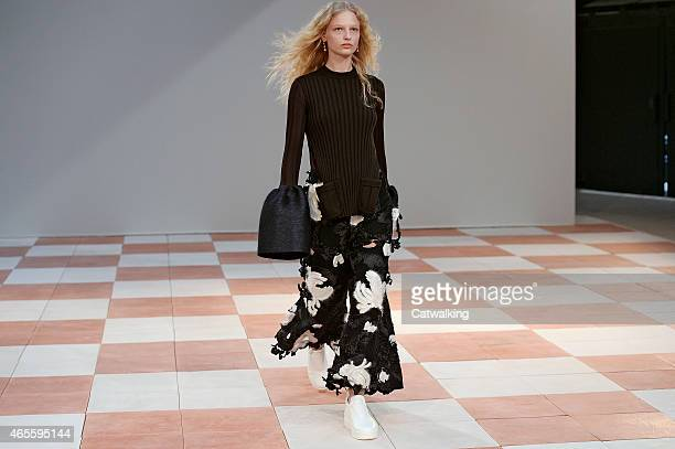 A model walks the runway at the Celine Autumn Winter 2015 fashion show during Paris Fashion Week on March 8 2015 in Paris France