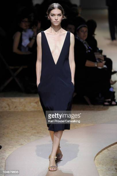 A model walks the runway at the Celine fashion show during Paris Fashion Week on October 3 2010 in Paris City