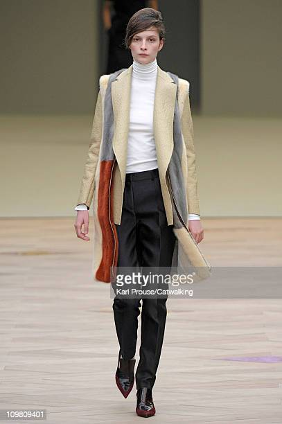 A model walks the runway at the Celine fashion show during Paris Fashion Week on March 6 2011 in Paris France