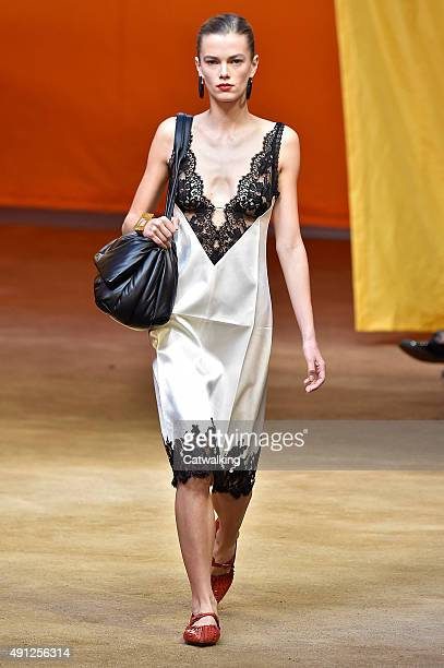 A model walks the runway at the Celine Spring Summer 2016 fashion show during Paris Fashion Week on October 4 2015 in Paris France