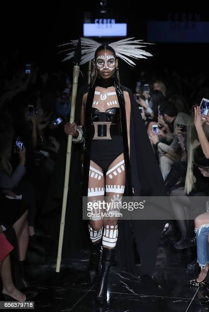 A model walks the runway at the Ceren Ocak show during MercedesBenz Istanbul Fashion Week March 2017 at Grand Pera on March 22 2017 in Istanbul Turkey