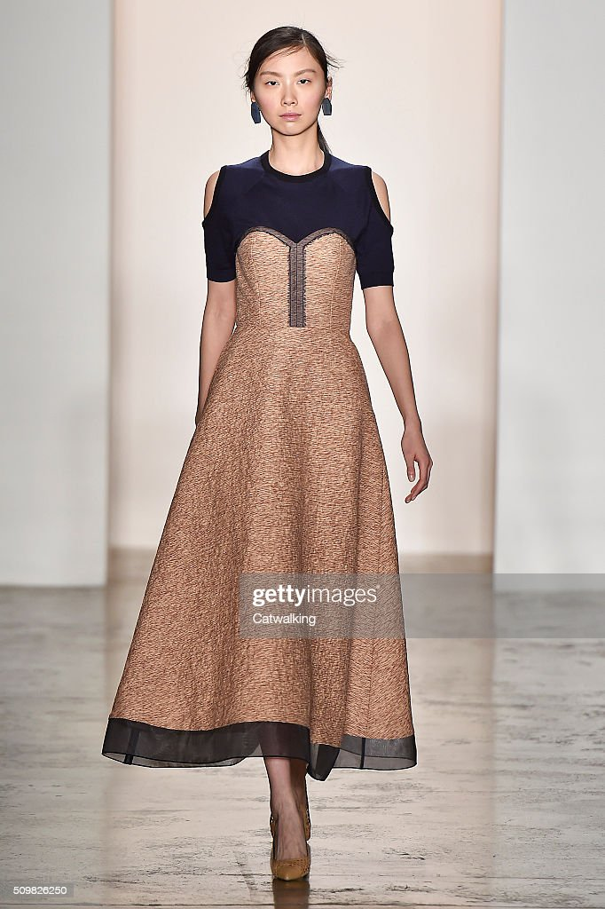 A model walks the runway at the CG by Chris Gelinas Autumn Winter 2016 fashion show during New York Fashion Week on February 12, 2016 in New York, United States.
