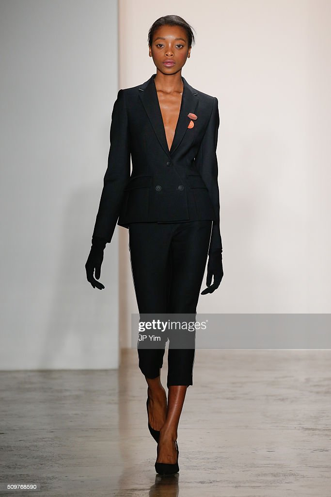 A model walks the runway at the CG runway show during Fall 2016 MADE Fashion Week at Milk Studios on February 12, 2016 in New York City.