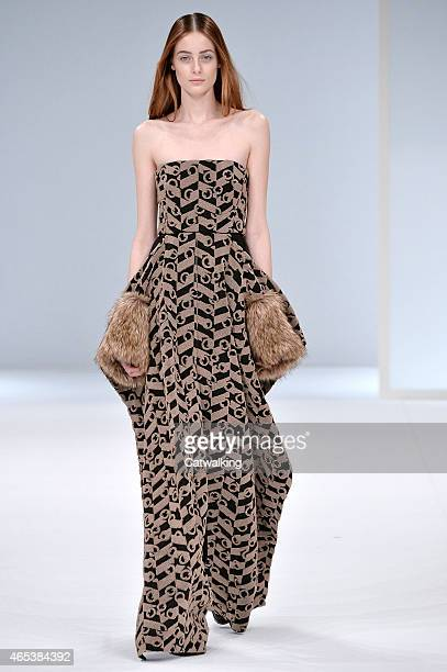 A model walks the runway at the Chalayan Autumn Winter 2015 fashion show during Paris Fashion Week on March 6 2015 in Paris France