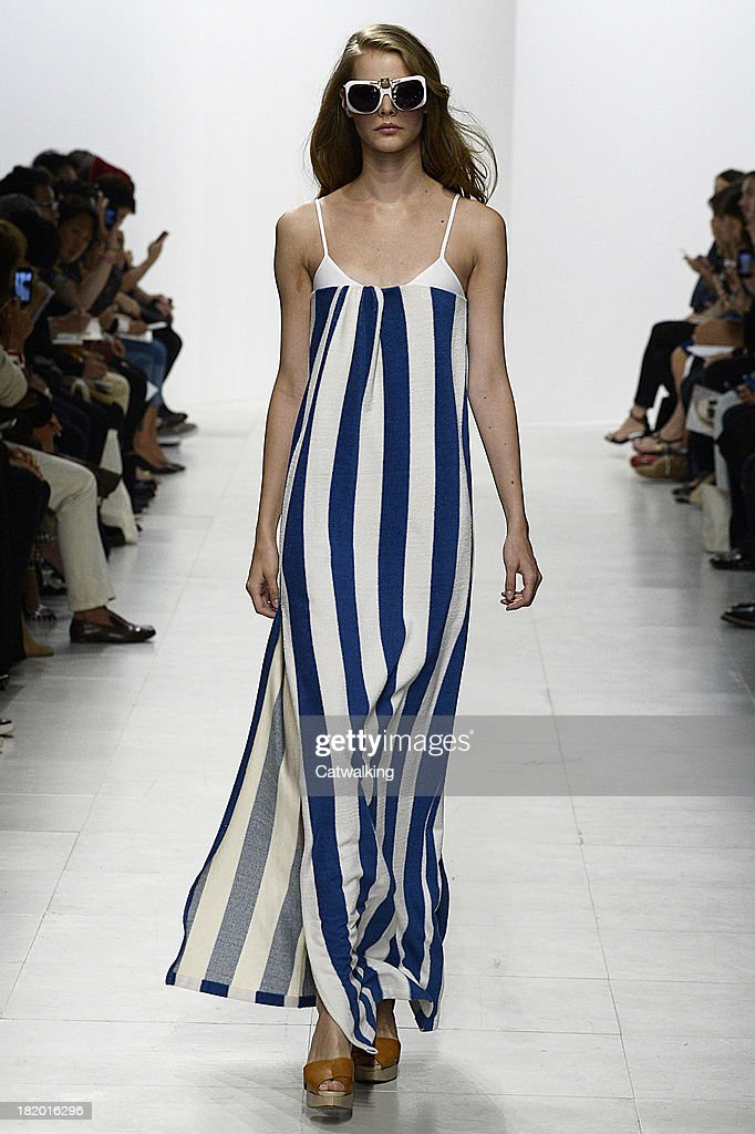 A model walks the runway at the Chalayan Spring Summer 2014 fashion show during Paris Fashion Week on September 27, 2013 in Paris, France.