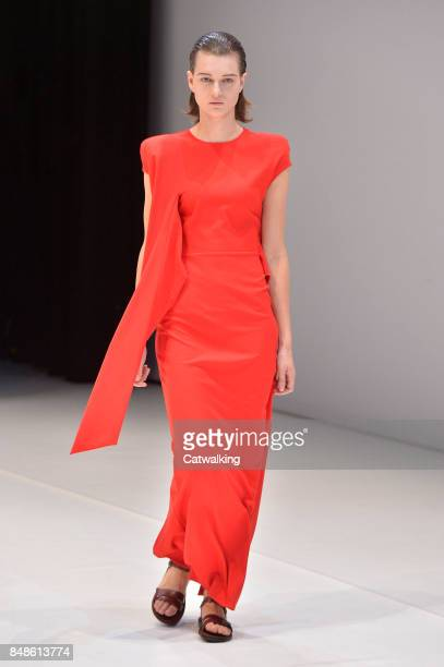 A model walks the runway at the Chalayan Spring Summer 2018 fashion show during London Fashion Week on September 17 2017 in London United Kingdom