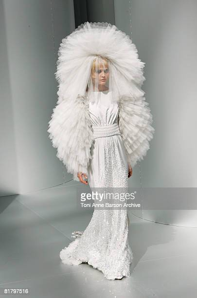 A model walks the runway at the Chanel '09 Fall Winter Haute Couture fashion show at the Grand Palais on July 1 2008 in Paris France