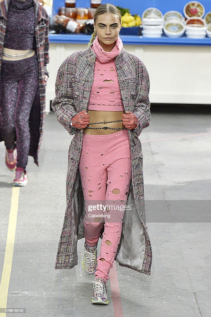 A model walks the runway at the Chanel Autumn Winter 2014 fashion show during Paris Fashion Week on March 4, 2014 in Paris, France.