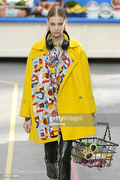 A model walks the runway at the Chanel Autumn Winter 2014 fashion show during Paris Fashion Week on March 4 2014 in Paris France
