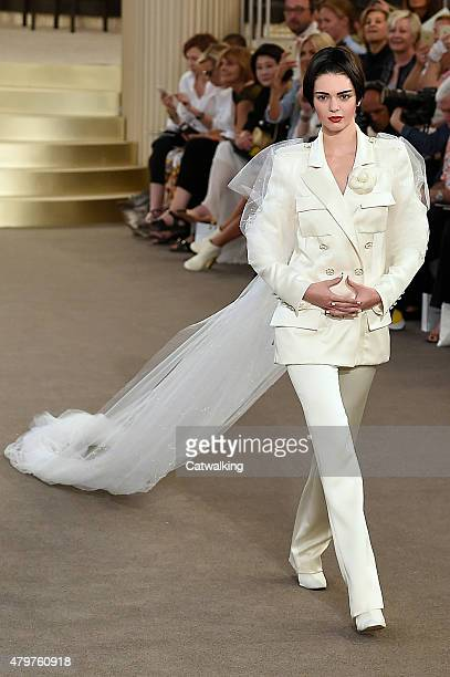 A model walks the runway at the Chanel Autumn Winter 2015 fashion show during Paris Haute Couture Fashion Week on July 7 2015 in Paris France