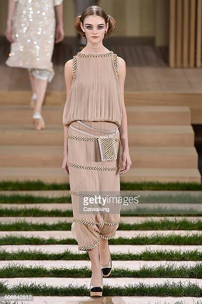 A model walks the runway at the Chanel Spring Summer 2016 fashion show during Paris Haute Couture Fashion Week on January 26 2016 in Paris France
