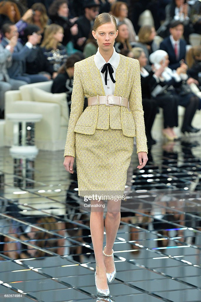 chanel 2017. a model walks the runway at chanel spring summer 2017 fashion show during paris haute