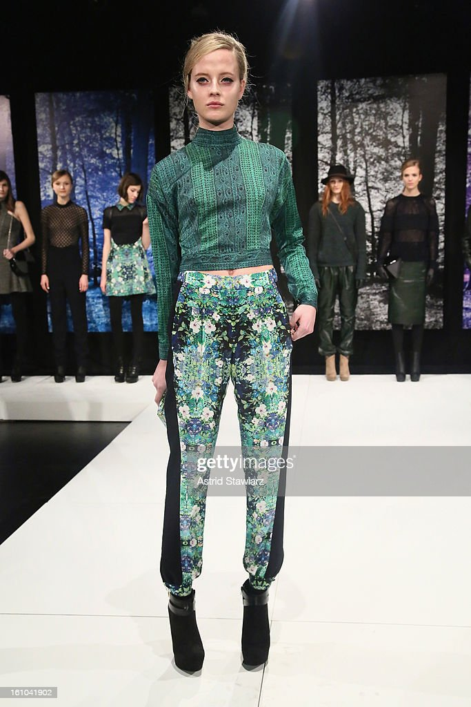 A model walks the runway at the Charlotte Ronson Fall 2013 Presentation during Mercedes-Benz Fashion Week at The Box at Lincoln Center on February 8, 2013 in New York City.