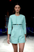 A model walks the runway at the Charlotte Ronson fashion show during MercedesBenz Fashion Week Spring 2015 at The Pavilion at Lincoln Center on...