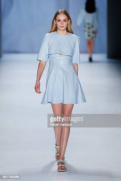 A model walks the runway at the Charlotte Ronson show during the MercedesBenz Fashion Week Berlin Autumn/Winter 2015/16 at Brandenburg Gate on...