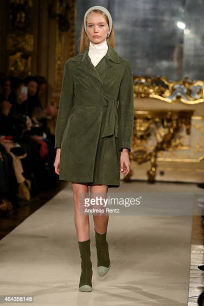 A model walks the runway at the Chicca Lualdi show during the Milan Fashion Week Autumn/Winter 2015 on February 25 2015 in Milan Italy