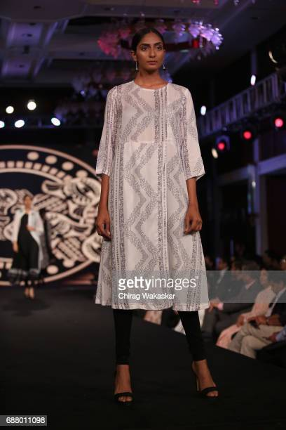 A model walks the runway at the Chitra Lal show during Shoppers Stop Designer of tghe Year awards 2017 held at Four Seaons on May 24 2017 in Mumbai...