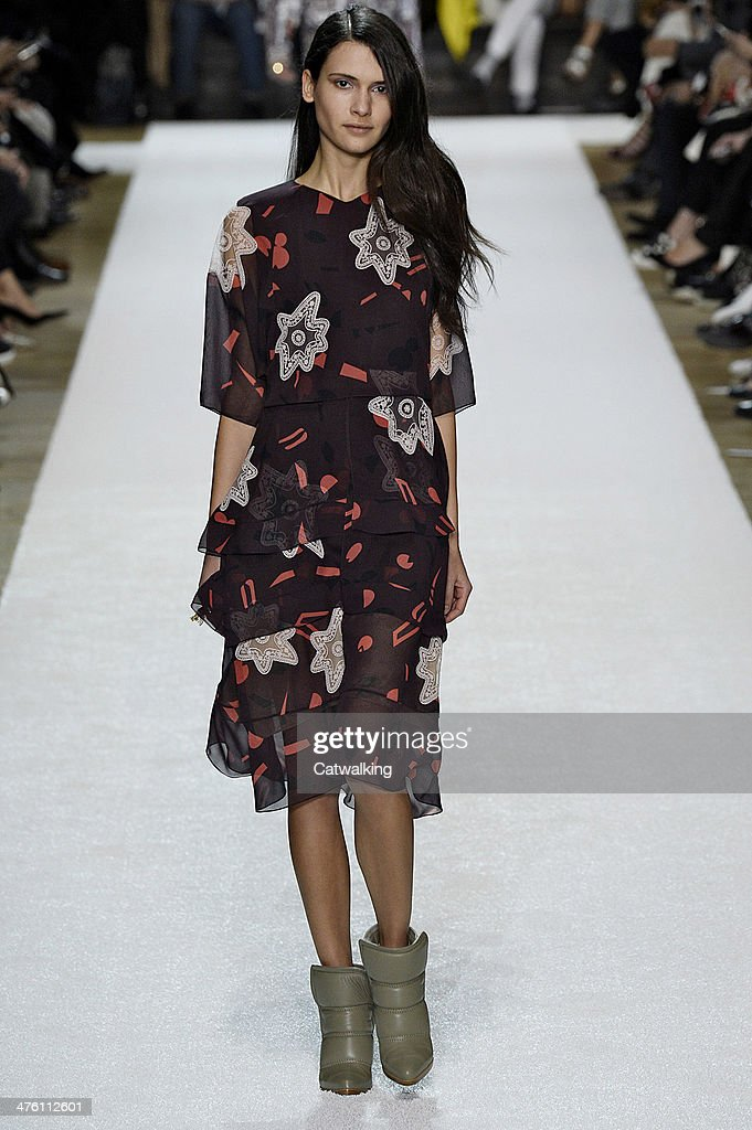 A model walks the runway at the Chloe Autumn Winter 2014 fashion show during Paris Fashion Week on March 2, 2014 in Paris, France.